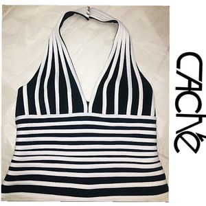CACHE Black White Striped Plunge Halter Top 10